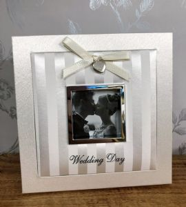 Wedding Day Ivory & Silver Fabric Square Photo Frame Gift 3x3 Photo